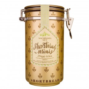 Canister of Mini Shortbread Biscuits - Macadamia Nut