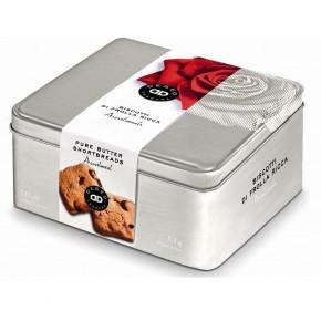 Biscotti Frolla Ricca / Scatola in latta assortimento 2 gusti: Classici al Burro e Cioccolato fondente