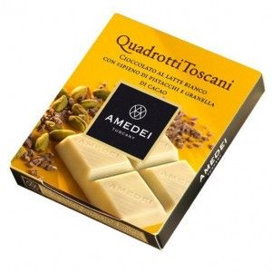 Quadrotti White Milk Chocolate Bar with Pistachio filling